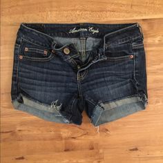 American eagle dark wash denim shorts Cut off shorts. Good condition American Eagle Outfitters Shorts Jean Shorts