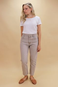 High rise with a straight leg. Size on Label - Measurements Waist - Hips - Length - 37 Inseam - Rise - Tavistock, Oatmeal, Capri Pants, Jeans, Green, Shopping, Vintage, Fashion, The Oatmeal