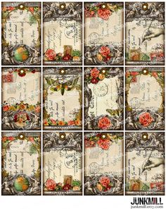 TABULA ROSA Collage Sheet. French Victorian Hang Tags by JUNKMILL.