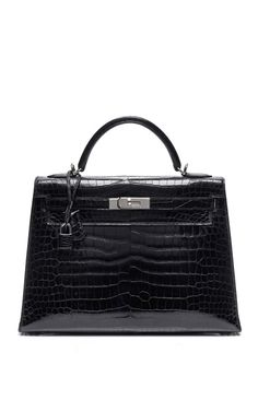 DESIGNER: HERITAGE AUCTIONS SPECIAL COLLECTIONS  32Cm Black Shiny Porosus Crocodile Kelly