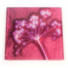 Gillian Arnold Pink Joyous Spread Glass Coaster