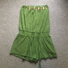 Army green strapless tribal hippie flow fp romper Love it but a little too small on me. Urban Outfitters Dresses