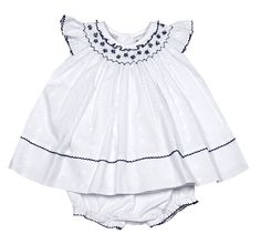 Sarah Louise Baby Girls White Eyelet Dress with Bloomers - Smocked in Navy Blue