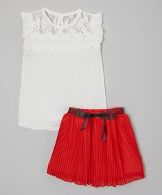 Look at this Kid Swag White Lace Top & Red Bow Skirt - Toddler & Girls on #zulily today!