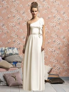 (NO.018666 )Sheath / Column One Shoulder Hand-Made Flower Sleeveless Floor-length Chiffon Ivory Bridesmaid Dress / Prom Dress / Evening Dress