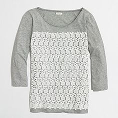 Factory three-quarter sleeve lace front tee$39.50