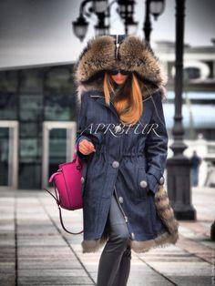 Купить Парка мягкий деним и шикарный мех енота - парка, парка с мехом, меховая куртка