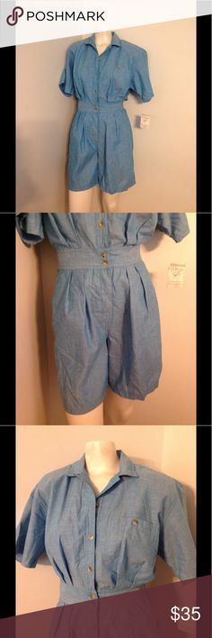 Vintage Blue Romper Shorts S Cute vintage blue romper. Buttons the whole way up - elastic in the back of the waist. Made of 100% cotton in size Small. Brand new with tags. By Chaus. Vintage Pants Jumpsuits & Rompers