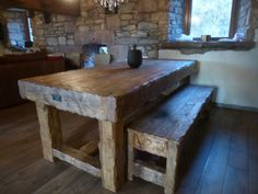SOLID HANDCRAFTED RUSTIC HARWOOD DINING TABLE/ BENCH made FROM RECLAIMED WOOD | eBay