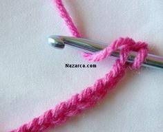 -3- 20 zincirden sonra resimdeki gibi ilk zincirin içine tığın üzerine ip dolamadan batırın :)