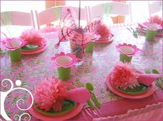 fairy party ideas, flower cups but with white flowers and pink cups