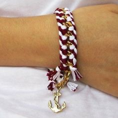 With navy and white friendship bracelet string...charm from michaels..and the bracelet from...?