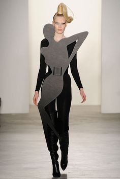 Wearable Art - experimental fashion design - glam lady silhouette worn over black catsuit; sculptural 3D fashion // Jeremy Scott FW10