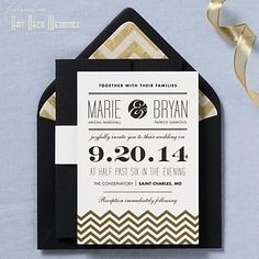 Chevron Wedding Invitation - art deco, gold, black, typography, paper source I like the chevron detailing which give it a bit more focus and ties in with each card. I also like the way there are certain elements in different fonts to make them stand out. Art Deco Wedding Invitations, Gold Invitations, Invitation Paper, Wedding Stationary, Invitation Design, Invitation Ideas, Invitation Suite, Plan My Wedding, Our Wedding