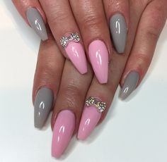 Pink and grey coffin nails
