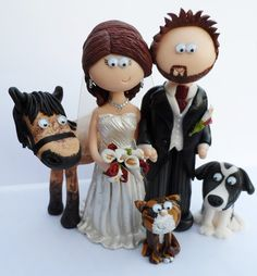 Totally personalised to look like the Bride & Groom, I any make any pets you want too. This lovely couple wanted to include their horse, dog & cat. I send them anywhere in the World www.googlygifts.co.uk