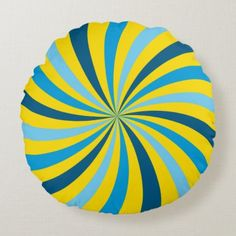 Spirited Gold and Blues Lollipop Swirl Round Pillow