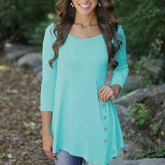 New Arrival Women Fashion Round Neck Long Sleeve Irregular Hem Top Button Decor Shirt