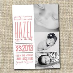 I love this adorable modern baby girl or boy birth announcement  little miracle by westwillow, $15.00