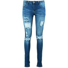 Boohoo Blue Hannah Mid Rise Light Ripped Skinny Jeans (145 BRL) ❤ liked on Polyvore featuring jeans, high waisted skinny jeans, boyfriend jeans, skinny jeans, slim straight jeans and high waisted jeans
