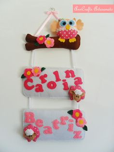 A door ornament stuffed owl, litte lambs and lots of flowers. Will make the delight of the girls bedroom. :)