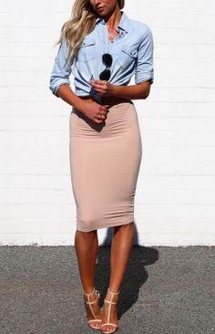 Street style   Knocked chambray shirt and blush pencil skirt