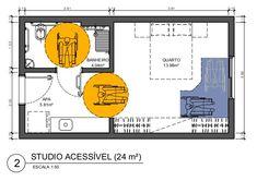 Descrição da imagem #PraCegoVer: Imagem no formato retangular, na horizontal. Imagem de uma planta baixa de um imóvel com tamanho reduzido. Na imagem, temos algumas especificações para um morador cadeirante. Fim da descrição. Lofts, Garage Addition, Hotel Room Design, Arch Interior, Tiny Apartments, Design Guidelines, Architecture Plan, Studio Apartment, Floor Plans