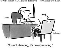 It's not #cheating, it's #crowdsourcing! #Cartoon #Cooperation #OpenSource