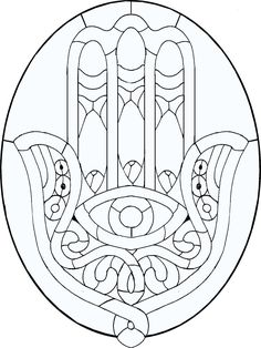 Hamsa Line Art Pattern – could be a great stained glass piece - Cool Glass Art Designs Stained Glass Projects, Stained Glass Patterns, Free Mosaic Patterns, Colouring Pages, Coloring Books, Hand Der Fatima, Hamsa Hand, Dot Painting, Mandala Art