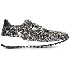 Casadei Embellished Glitter Sneakers ($991) ❤ liked on Polyvore featuring shoes, sneakers, black, glitter shoes, kohl shoes, decorating shoes, black leather shoes and black glitter sneakers