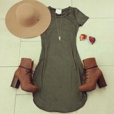Green Dress + Brown Leather Boots