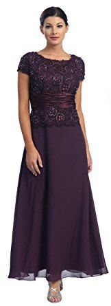 Mother of the Bride Formal Evening Dress #571 (Large, Eggplant)