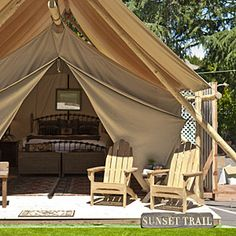 THIS IS WHAT I'M TALKING ABOUT!Glam camping: Rethink the pitched tent | Tent camping redefined: Outdoor porch | Sunset.com
