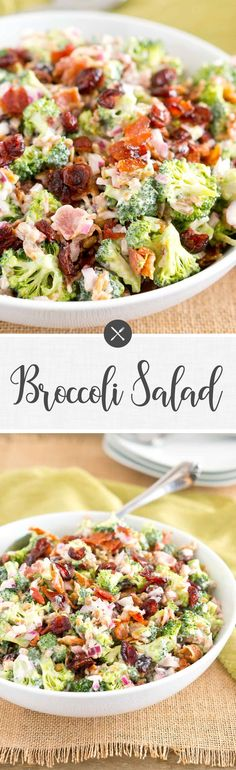 This Broccoli Salad is made with bits of salty bacon, tangy red onion, sweet craisins and crunchy sunflower seeds. Perfect for potlucks and so delicious! via @NeliHoward