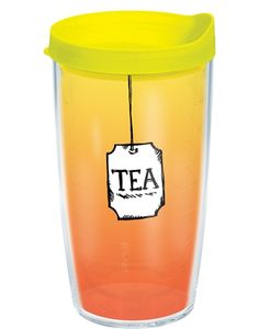 Tervis Tumbler with Neon Yellow Lid, Tea Lover Wrap Keeps hot drinks hot and cold drinks cold Co-polyester BPA and Melamine free construction Microwave, freezer & dishwasher safe Unconditional Lifetime Guarantee Made in the USA Tervis Tumbler, Cute Cups, Tumblers With Lids, Birthday Wishlist, Drinking Tea, Drinkware, 3 D, Tea Pots, Mugs