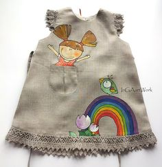 Girls gray linen dress -lace painted dress - Hand painted - ON ORDER ONLY - children summer clothing - doll -rainbow -bird- lace girls dress