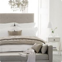 white and greige bedroom