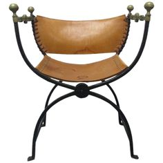 Italian Curule Savonarola Chair | From a unique collection of antique and modern side chairs at https://www.1stdibs.com/furniture/seating/side-chairs/