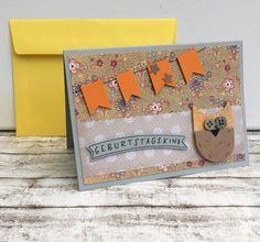 Glückwunschkarten - Kindergeburtstagskarte EULE & Banner - ein Designerstück von POMMPLA bei DaWanda