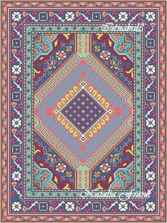 """Today I would like to show you my new dollhouse miniature area rug needlepoint patterns. I called this rug """"Istanbul"""" and there are 3 patte."""