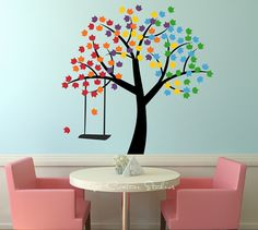 Rainbow Tree Decal Forest Wall Art Tree Swing Home Decor Falling Leaves Children Bedroom Decal