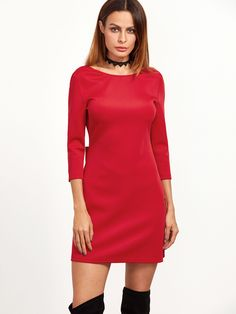 Cuff(Cm): Bicept Length(Cm): Fabric: Fabric has some stretch Season: Fall Pattern Type: Plain Sleeve Length: Three Quarter Length Sleeve Color: Red Dresses Length: Short Style: Cute, Sexy, Party Material: Polyester Neckline: Boat Neck Silhouet Fall Patterns, Birthday Party Outfits, Embellished Dress, Boat Neck, Color Red, High Neck Dress, Bows, Sexy, Fabric