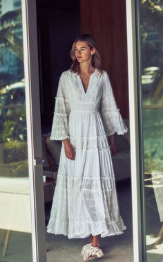 Hedda Embellished Eyelet Maxi Dress by Alexis Spring/Summer 19 Dress Outfits, Casual Dresses, Skirt Mini, Boho Fashion, Fashion Outfits, Evening Dresses, Summer Dresses, Metallic Dress, Tiered Dress