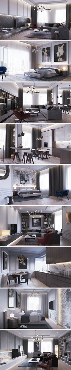 Some really nice elements in this apartment, Lindsey Adelman lighting, panelling and artwork | Apartments in St. Petersburg» - Галерея 3ddd.ru