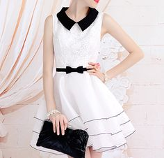 Elegant White Tulle Floral Black Bowknot Tiered Flare Bubble Skirt Dress for big sale! Look Fashion, Skirt Fashion, Fashion Dresses, Women's Dresses, Fashion Women, Fashion Ideas, White Sleeveless Dress, White Dress, Peter Pan