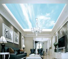 Blue Sky Ceiling Wallpaper Removable Self Adhesive Wallpaper Large Peel & Stick Wallpaper Wallpaper Ceiling, Ceiling Murals, 3d Wall Murals, Paper Wallpaper, Self Adhesive Wallpaper, Peel And Stick Wallpaper, Wall Decals, Wallpaper Murals, Panel Moulding