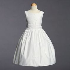 Trista Beaded Satin First Communion Dress with Beaded Organza Sash - First Communion Dresses at Christening Shop