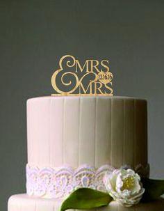Mrs And Mrs Wedding Cake Topper, Same Sex Wedding Cake Topper, Rustic  Wedding Cake Topper, Lesbian Wedding Cake Topper, Monogram Cake Topper