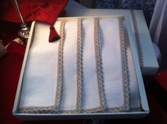 Fabulous Irish Linen Napkin gift set with a shabby chic styled lace trim. €40 plus postage, email eabhasdesign@gmail.com or message me at www.facebook.com/eabhasdesign Linen Napkins, Shabby Chic Style, Linen Fabric, Lace Trim, Irish, Blanket, Facebook, Luxury, Gifts