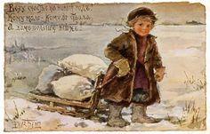 Nieve la postal del vintage de Rusia. 10 parcelas de E. Boehm   historia de postales.